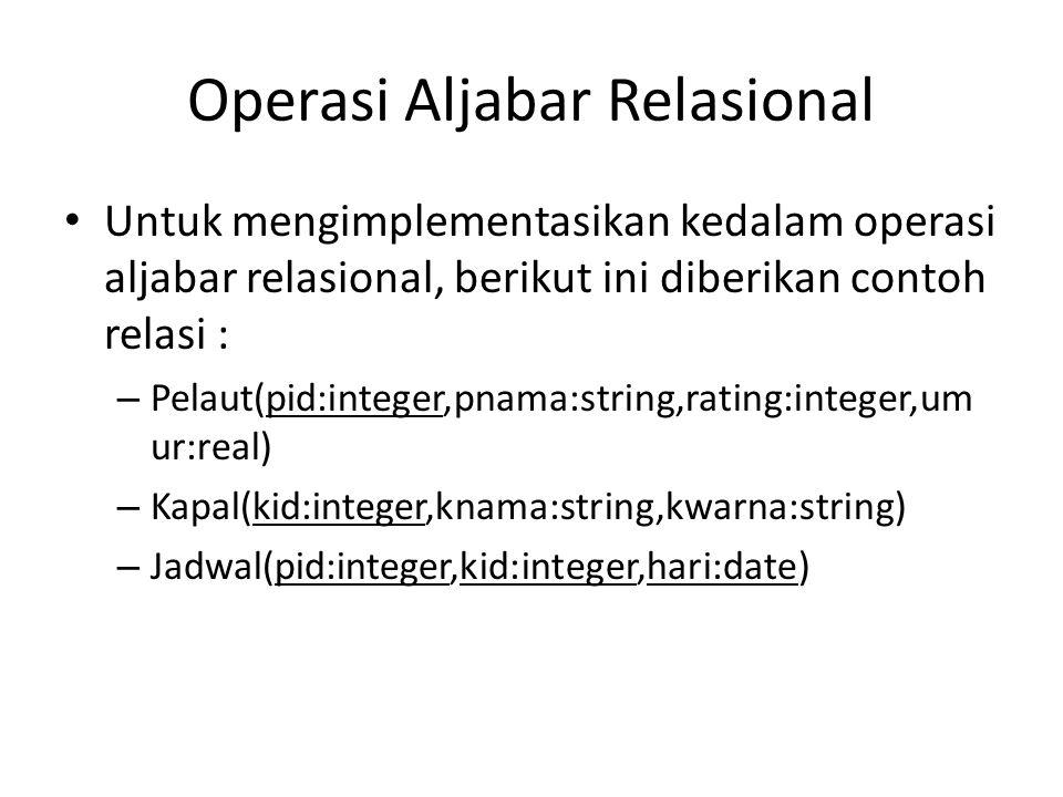 Operasi Aljabar Relasional Untuk mengimplementasikan kedalam operasi aljabar relasional, berikut ini diberikan contoh relasi : – Pelaut(pid:integer,pn