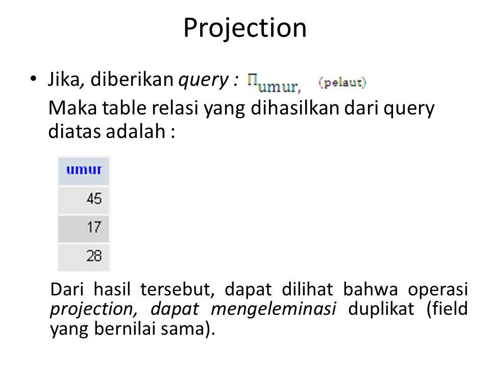 Projection Jika, diberikan query : Maka table relasi yang dihasilkan dari query diatas adalah : Dari hasil tersebut, dapat dilihat bahwa operasi proje