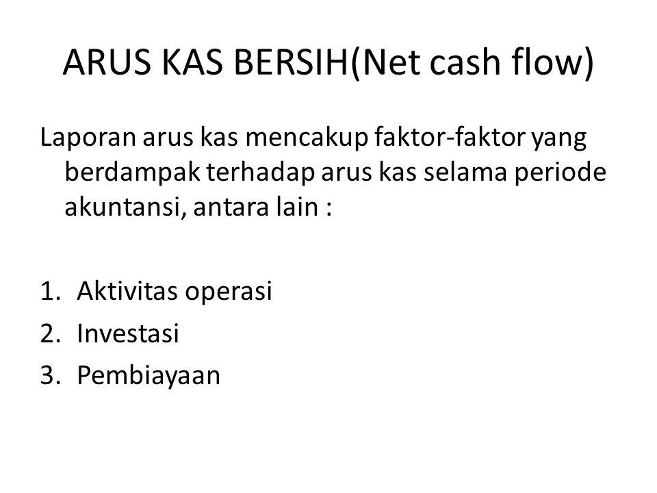 ARUS KAS BERSIH(Net cash flow) Laporan arus kas mencakup faktor-faktor yang berdampak terhadap arus kas selama periode akuntansi, antara lain : 1.Aktivitas operasi 2.Investasi 3.Pembiayaan