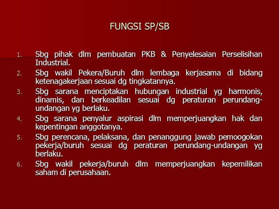 FUNGSI SP/SB 1. Sbg pihak dlm pembuatan PKB & Penyelesaian Perselisihan Industrial. 2. Sbg wakil Pekera/Buruh dlm lembaga kerjasama di bidang ketenaga
