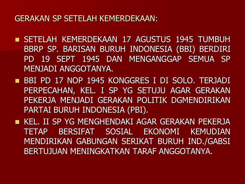 GERAKAN SP SETELAH KEMERDEKAAN: SETELAH KEMERDEKAAN 17 AGUSTUS 1945 TUMBUH BBRP SP. BARISAN BURUH INDONESIA (BBI) BERDIRI PD 19 SEPT 1945 DAN MENGANGG
