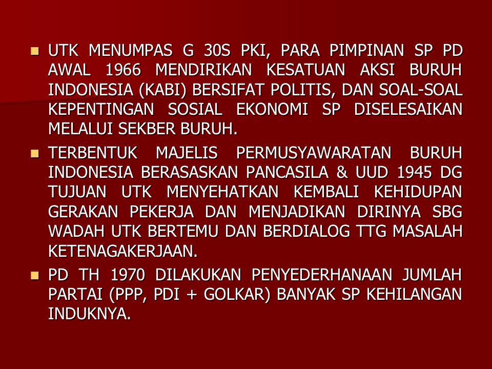 UTK MENUMPAS G 30S PKI, PARA PIMPINAN SP PD AWAL 1966 MENDIRIKAN KESATUAN AKSI BURUH INDONESIA (KABI) BERSIFAT POLITIS, DAN SOAL-SOAL KEPENTINGAN SOSI