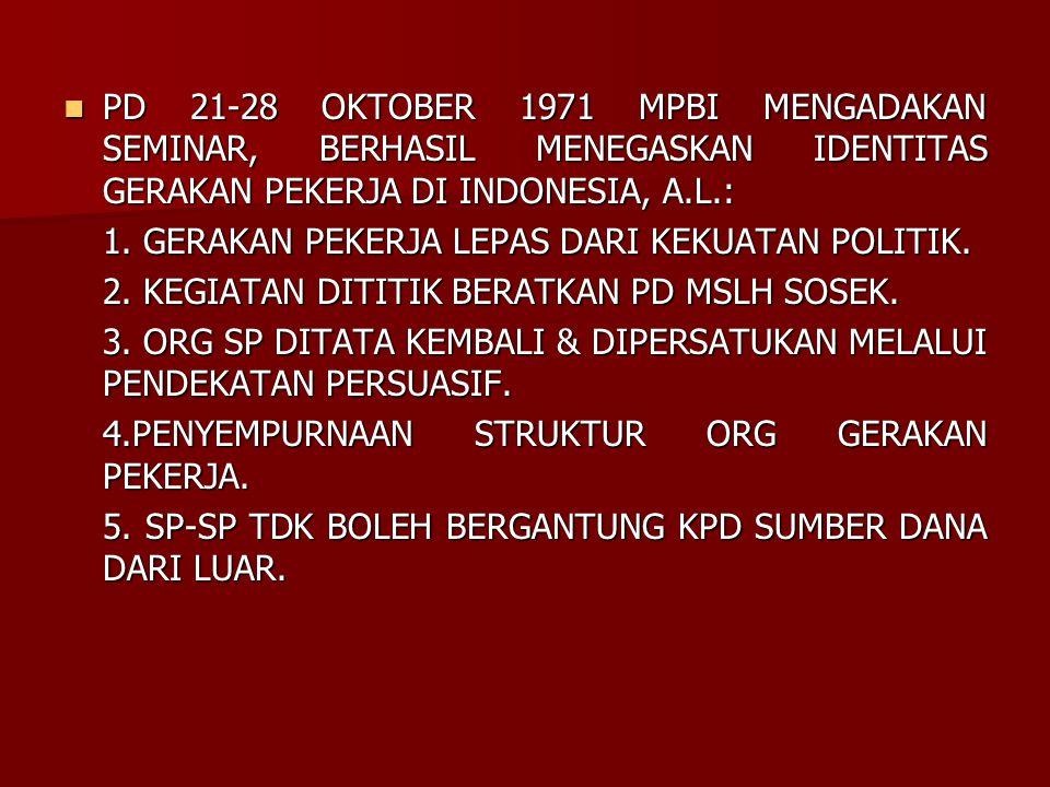 PD 21-28 OKTOBER 1971 MPBI MENGADAKAN SEMINAR, BERHASIL MENEGASKAN IDENTITAS GERAKAN PEKERJA DI INDONESIA, A.L.: PD 21-28 OKTOBER 1971 MPBI MENGADAKAN