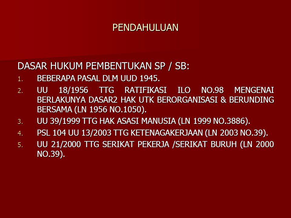PENDAHULUAN DASAR HUKUM PEMBENTUKAN SP / SB: 1. BEBERAPA PASAL DLM UUD 1945. 2. UU 18/1956 TTG RATIFIKASI ILO NO.98 MENGENAI BERLAKUNYA DASAR2 HAK UTK