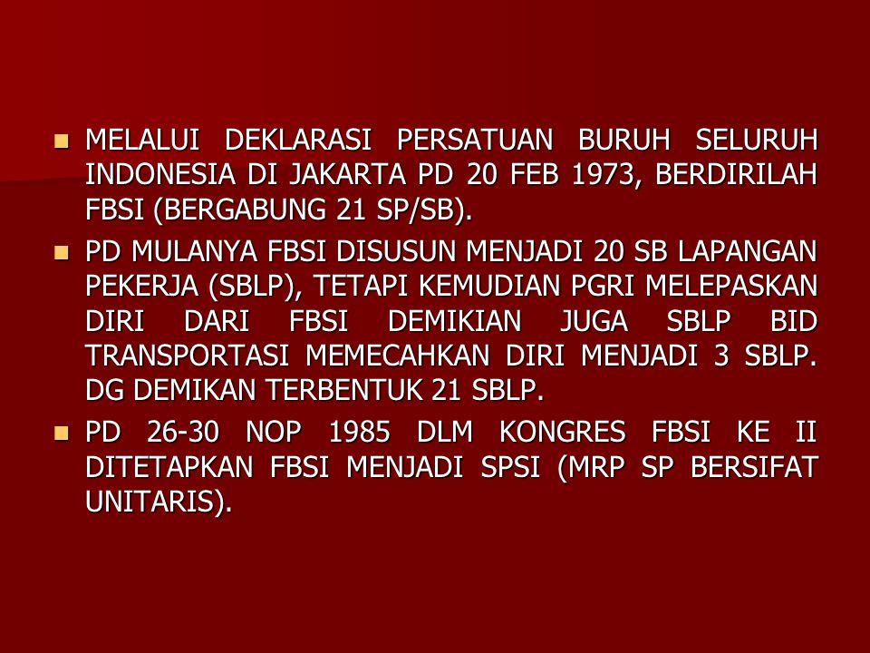 MELALUI DEKLARASI PERSATUAN BURUH SELURUH INDONESIA DI JAKARTA PD 20 FEB 1973, BERDIRILAH FBSI (BERGABUNG 21 SP/SB). MELALUI DEKLARASI PERSATUAN BURUH