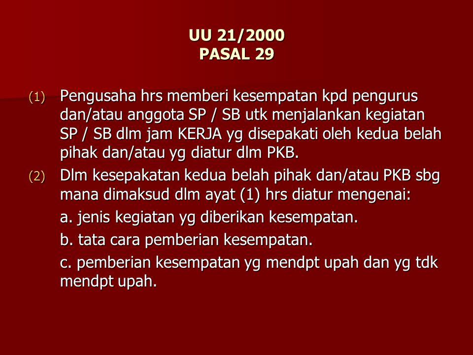 UU 21/2000 PASAL 29 (1) Pengusaha hrs memberi kesempatan kpd pengurus dan/atau anggota SP / SB utk menjalankan kegiatan SP / SB dlm jam KERJA yg disep