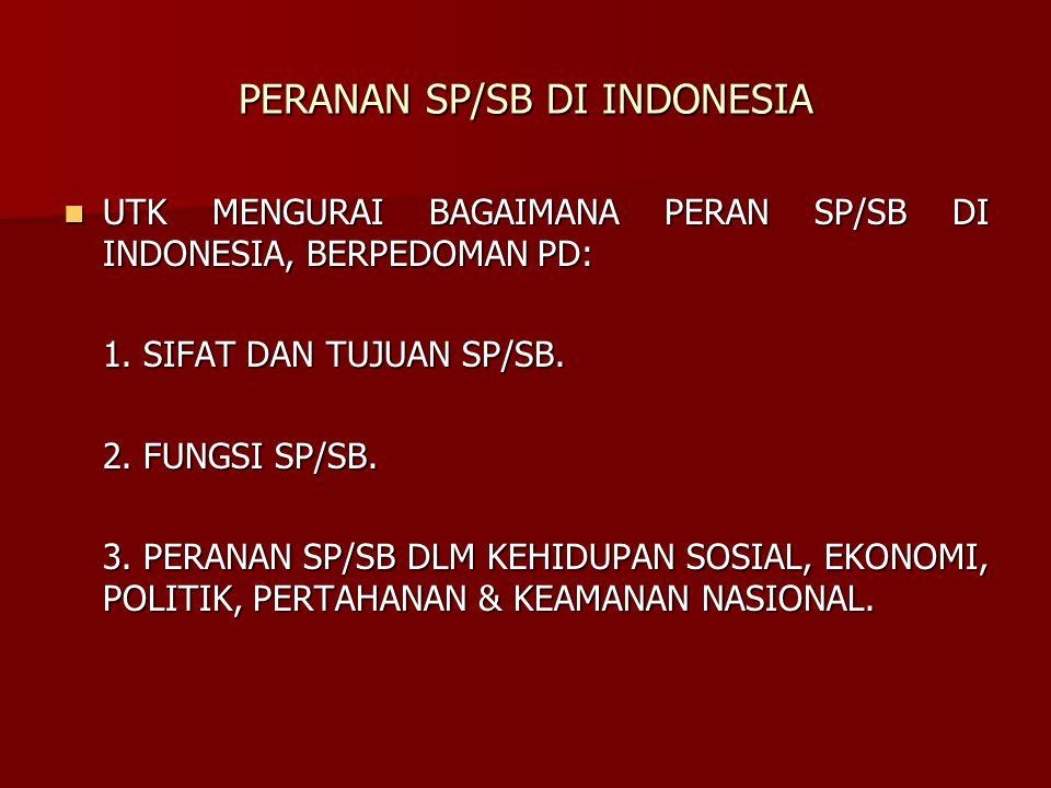 PERANAN SP/SB DI INDONESIA UTK MENGURAI BAGAIMANA PERAN SP/SB DI INDONESIA, BERPEDOMAN PD: UTK MENGURAI BAGAIMANA PERAN SP/SB DI INDONESIA, BERPEDOMAN