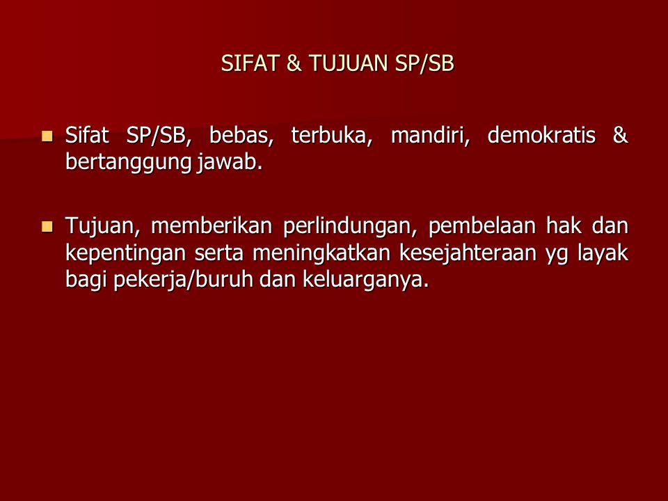 SIFAT & TUJUAN SP/SB SIFAT & TUJUAN SP/SB Sifat SP/SB, bebas, terbuka, mandiri, demokratis & bertanggung jawab. Sifat SP/SB, bebas, terbuka, mandiri,