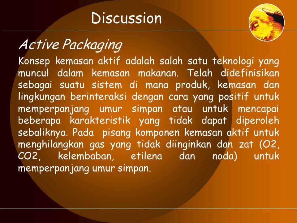 Discussion Active Packaging Konsep kemasan aktif adalah salah satu teknologi yang muncul dalam kemasan makanan. Telah didefinisikan sebagai suatu sist