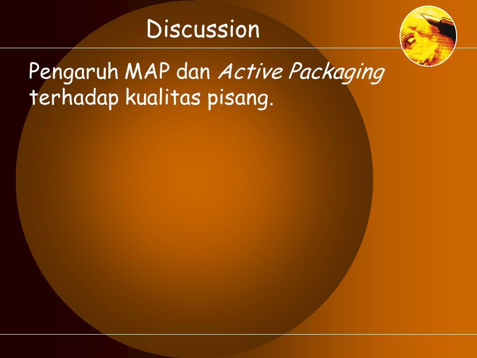 Pengaruh MAP dan Active Packaging terhadap kualitas pisang.