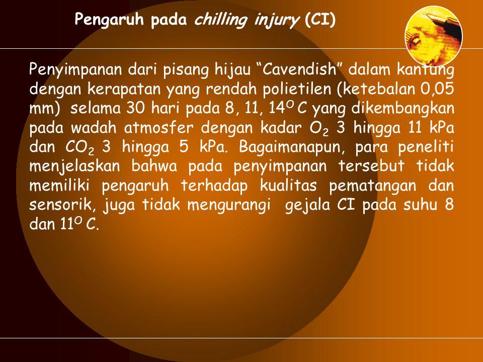 "Pengaruh pada chilling injury (CI) Penyimpanan dari pisang hijau ""Cavendish"" dalam kantung dengan kerapatan yang rendah polietilen (ketebalan 0,05 mm)"