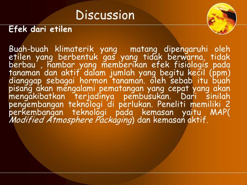 Discussion Efek dari etilen Buah-buah klimaterik yang matang dipengaruhi oleh etilen yang berbentuk gas yang tidak berwarna, tidak berbau, hambar yang