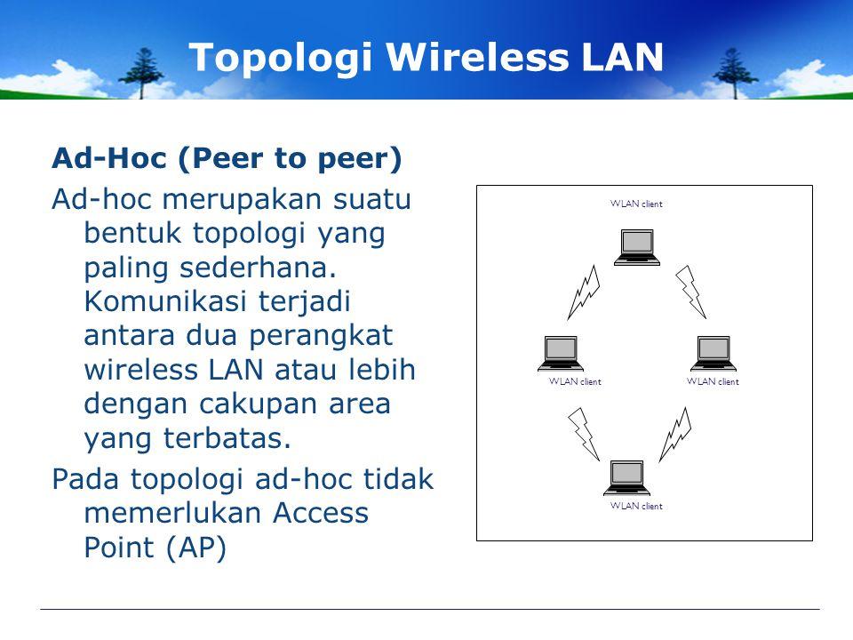 Topologi Wireless LAN Ad-Hoc (Peer to peer) Ad-hoc merupakan suatu bentuk topologi yang paling sederhana.
