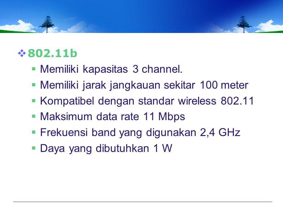  802.11b  Memiliki kapasitas 3 channel.