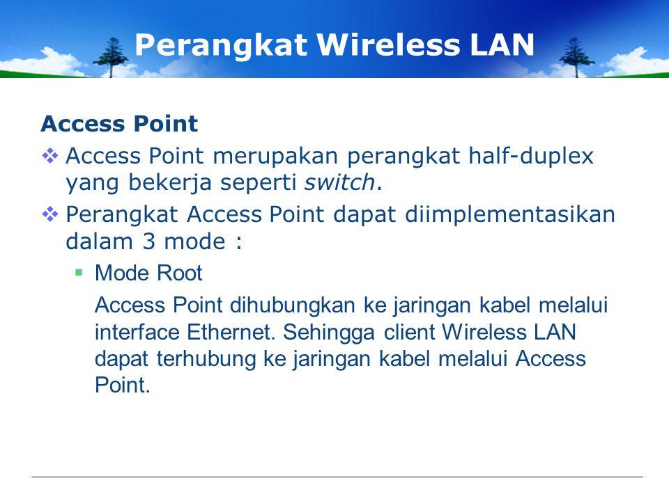 Perangkat Wireless LAN Access Point  Access Point merupakan perangkat half-duplex yang bekerja seperti switch.