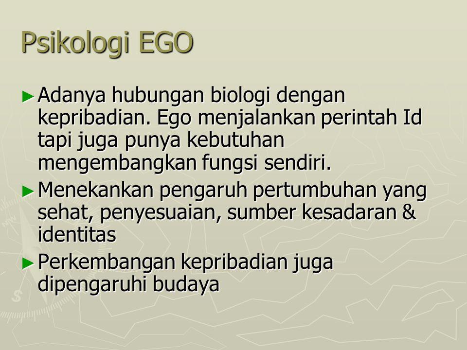 Psikologi EGO ► Adanya hubungan biologi dengan kepribadian. Ego menjalankan perintah Id tapi juga punya kebutuhan mengembangkan fungsi sendiri. ► Mene