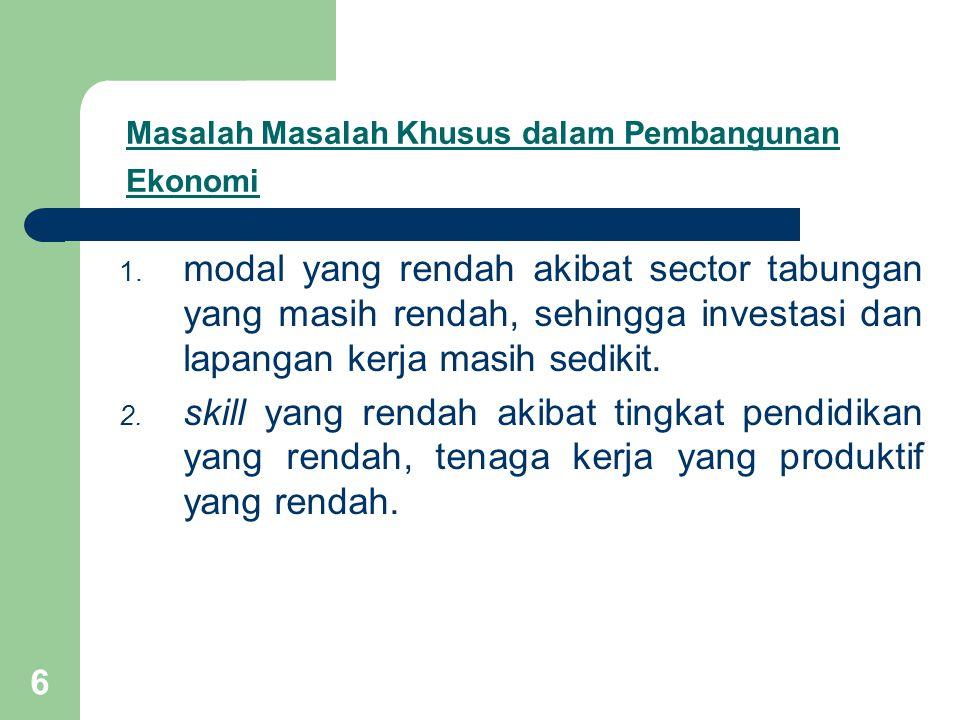 6 Masalah Masalah Khusus dalam Pembangunan Ekonomi 1.