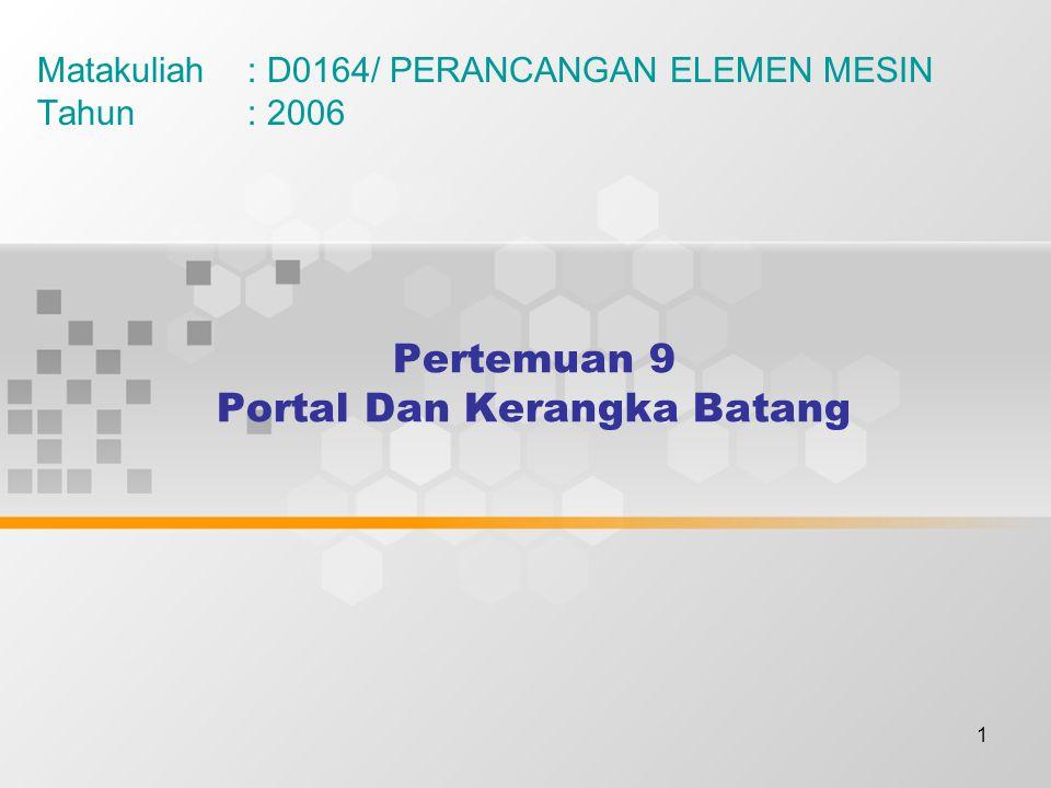 1 Pertemuan 9 Portal Dan Kerangka Batang Matakuliah: D0164/ PERANCANGAN ELEMEN MESIN Tahun: 2006