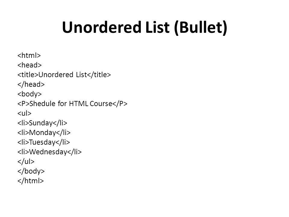 Unordered List (Bullet) Unordered List Shedule for HTML Course Sunday Monday Tuesday Wednesday