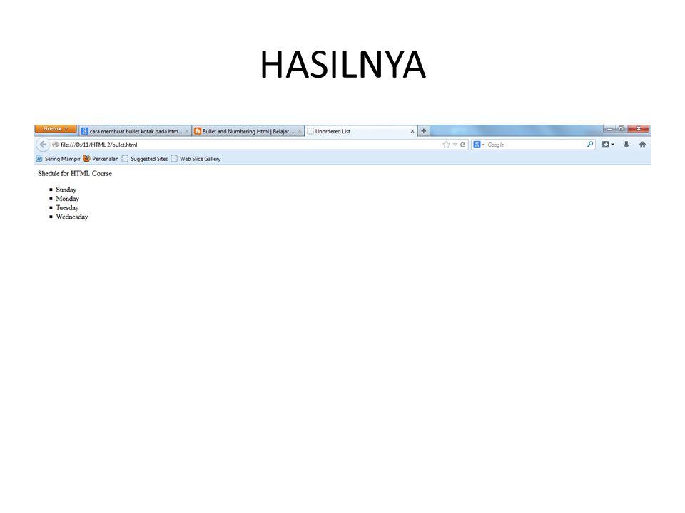 HASILNYA