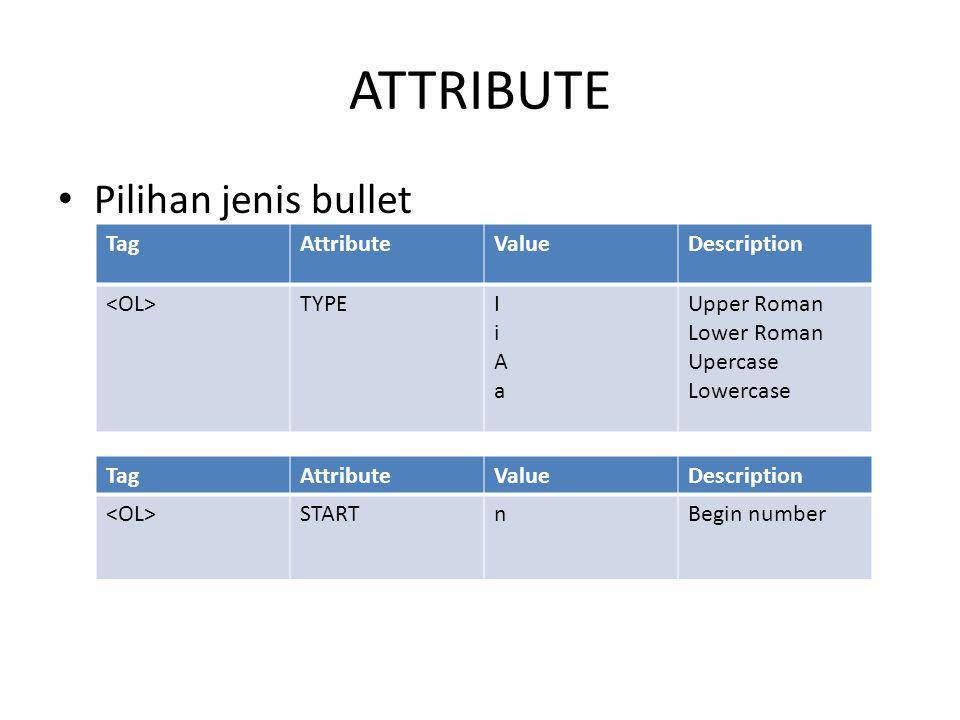 ATTRIBUTE Pilihan jenis bullet TagAttributeValueDescription TYPEIiAaIiAa Upper Roman Lower Roman Upercase Lowercase TagAttributeValueDescription STARTnBegin number