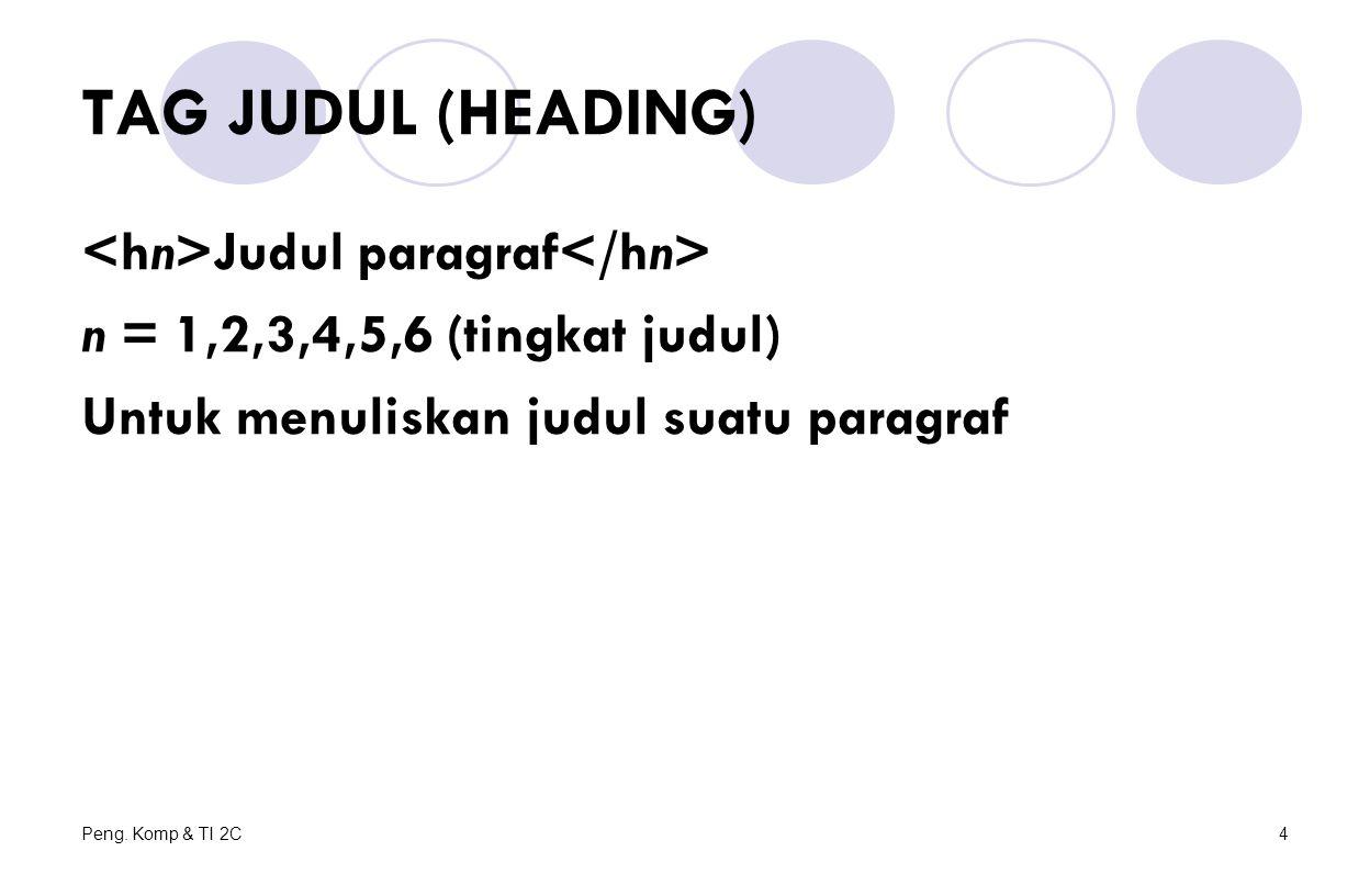 Peng. Komp & TI 2C4 TAG JUDUL (HEADING) Judul paragraf n = 1,2,3,4,5,6 (tingkat judul) Untuk menuliskan judul suatu paragraf