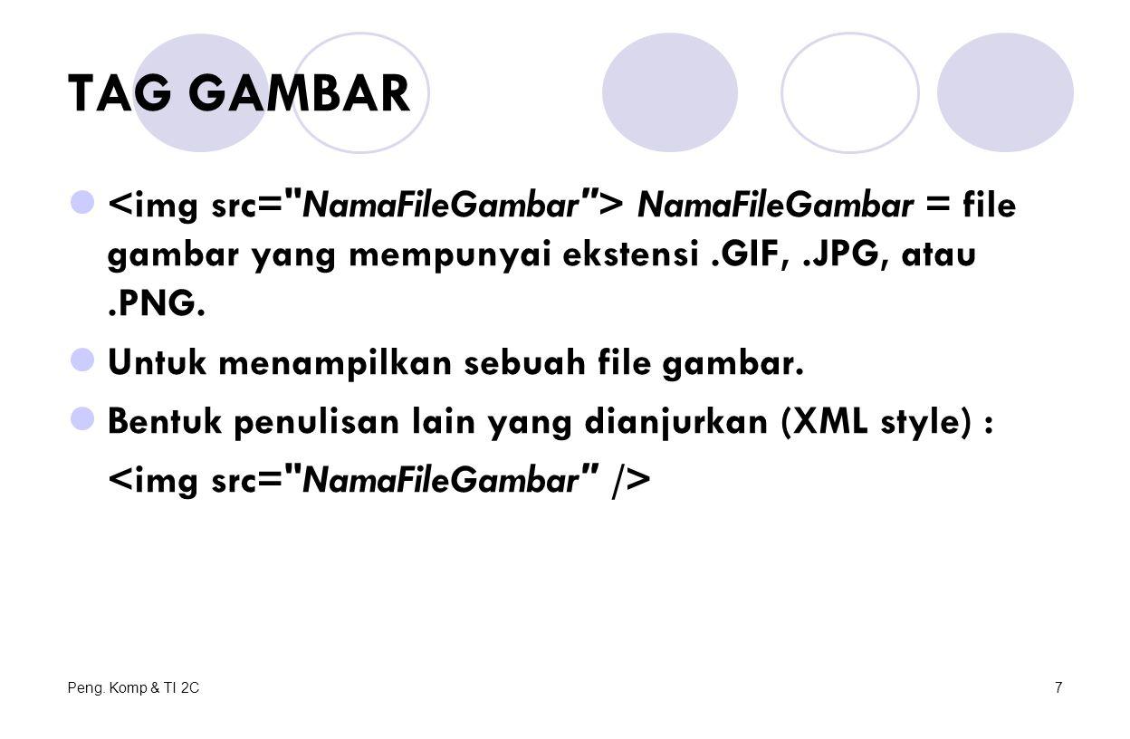 Peng. Komp & TI 2C7 TAG GAMBAR NamaFileGambar = file gambar yang mempunyai ekstensi.GIF,.JPG, atau.PNG. Untuk menampilkan sebuah file gambar. Bentuk p