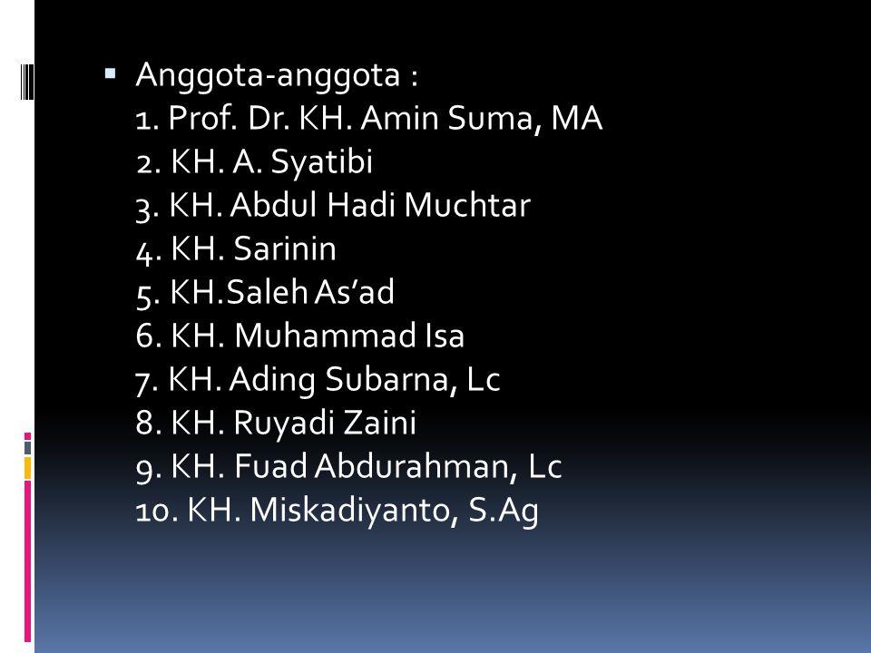  MAJELIS FATWA Ketua : DR. KH.E Syibli Syarjaya, LML.,MM Wakil Ketua I :KH. Bai Ma'mun Wakil Ketua II : KH. Tengku Zulkarnaen Sekretaris : H. Endang