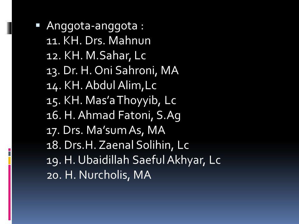  Anggota-anggota : 1. Prof. Dr. KH. Amin Suma, MA 2. KH. A. Syatibi 3. KH. Abdul Hadi Muchtar 4. KH. Sarinin 5. KH.Saleh As'ad 6. KH. Muhammad Isa 7.