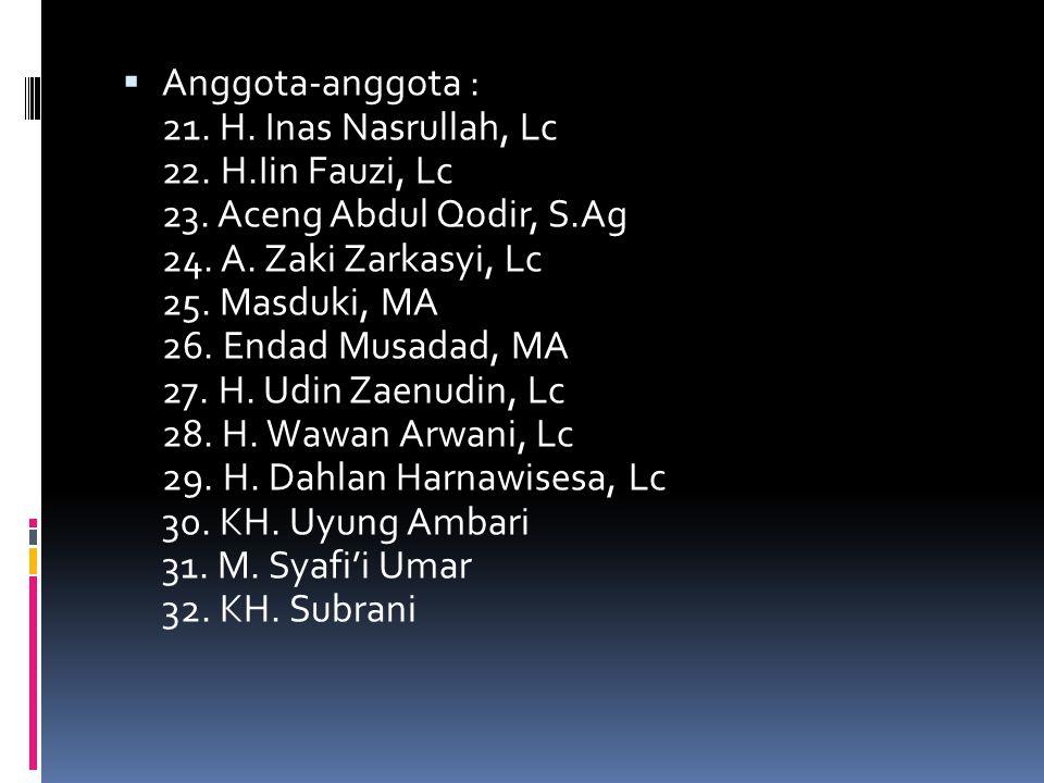 Anggota-anggota : 11. KH. Drs. Mahnun 12. KH. M.Sahar, Lc 13. Dr. H. Oni Sahroni, MA 14. KH. Abdul Alim,Lc 15. KH. Mas'a Thoyyib, Lc 16. H. Ahmad Fa