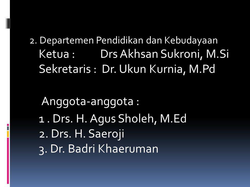 B. Departemen-Departemen  1. Departemen Organisasi dan Pengembangan Sumber Daya Manusia Ketua : H. Lili Suhaeli Sekretaris : H. Asnin Safiudin, MA An