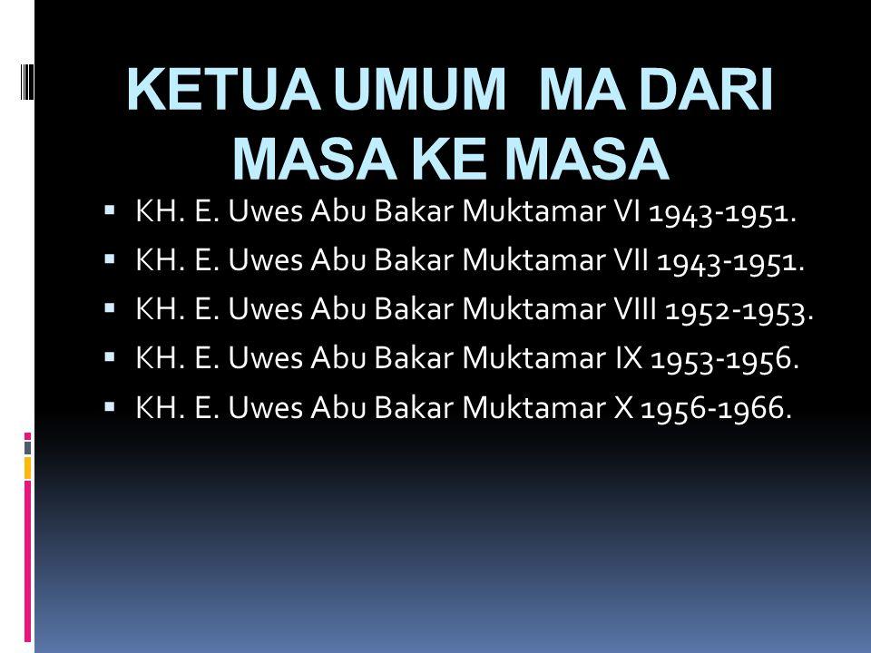 KETUA UMUM MA DARI MASA KE MASA  K.H. Moh. Yassin 1916-1933 Bistir Mathla'ul Anwar (Direktur).  K.H. Moh. Yassin Muktamar I 1936-1937.  K.H Abdul M