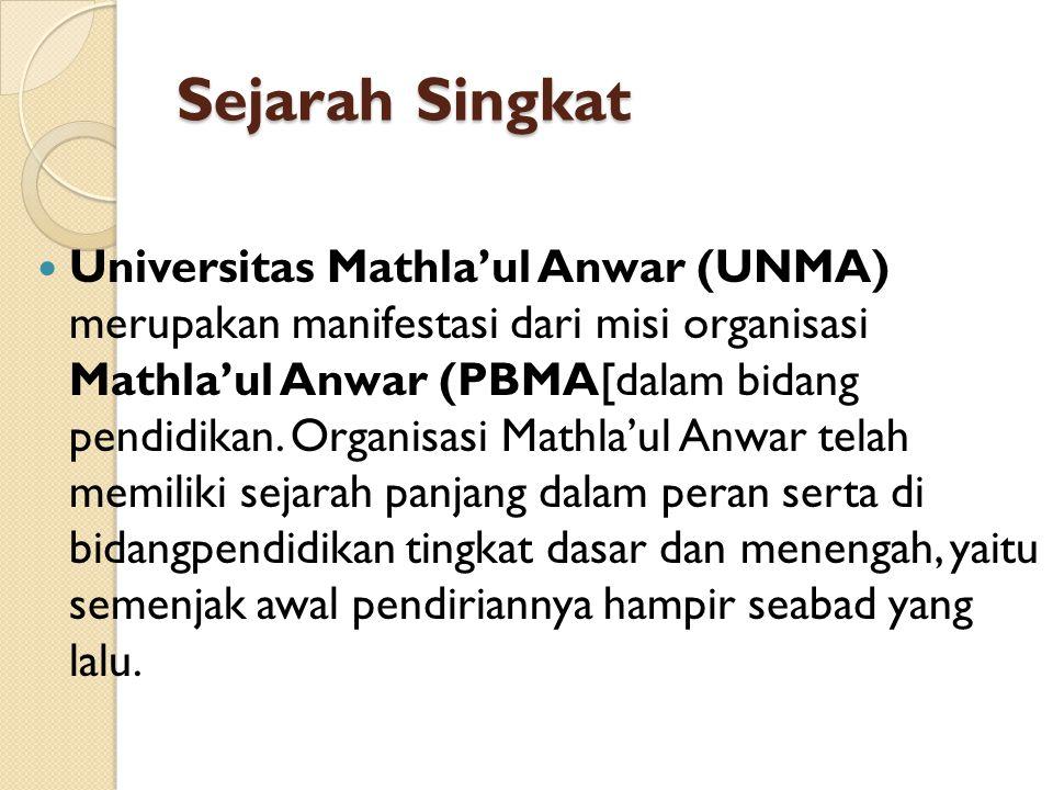 Sejarah Singkat Universitas Mathla'ul Anwar (UNMA) merupakan manifestasi dari misi organisasi Mathla'ul Anwar (PBMA[dalam bidang pendidikan. Organisas