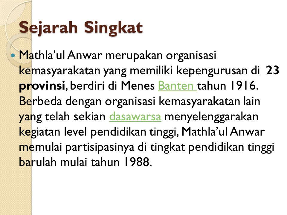 Sejarah Singkat Mathla'ul Anwar merupakan organisasi kemasyarakatan yang memiliki kepengurusan di23 provinsi, berdiri di Menes Banten tahun 1916. Berb