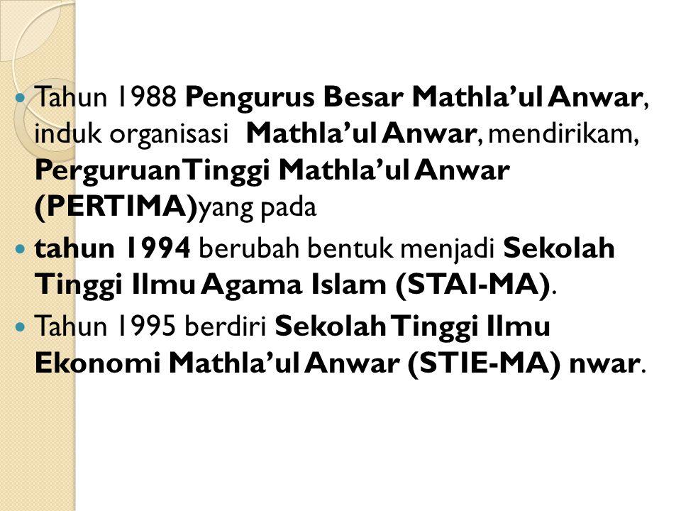 Tahun 1988 Pengurus Besar Mathla'ul Anwar, induk organisasi Mathla'ul Anwar, mendirikam, PerguruanTinggi Mathla'ul Anwar (PERTIMA)yang pada tahun 1994