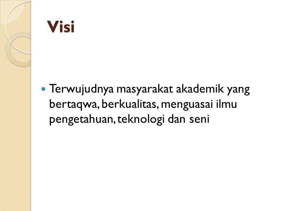 Visi Terwujudnya masyarakat akademik yang bertaqwa, berkualitas, menguasai ilmu pengetahuan, teknologi dan seni