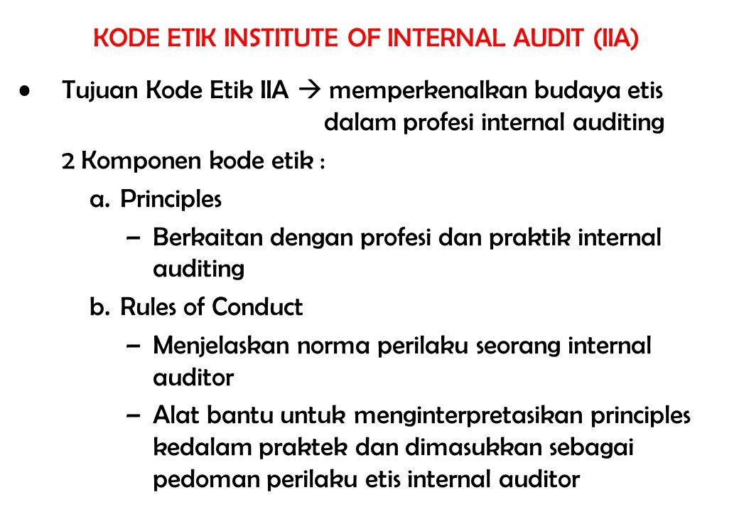 KODE ETIK INSTITUTE OF INTERNAL AUDIT (IIA) Tujuan Kode Etik IIA  memperkenalkan budaya etis dalam profesi internal auditing 2 Komponen kode etik : a