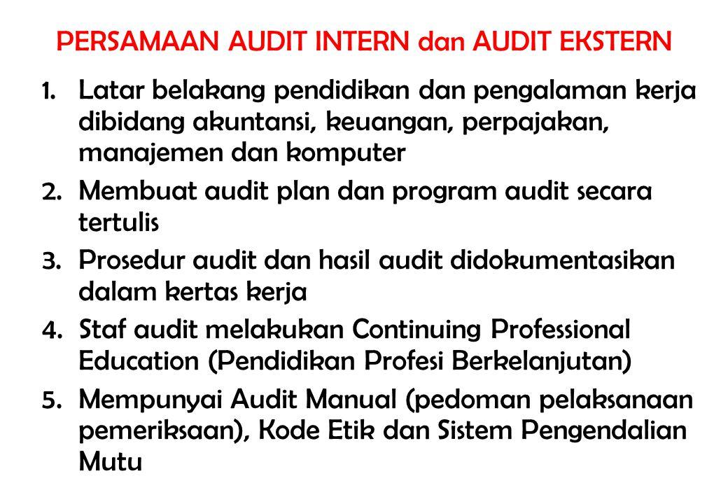 PERSAMAAN AUDIT INTERN dan AUDIT EKSTERN 1.Latar belakang pendidikan dan pengalaman kerja dibidang akuntansi, keuangan, perpajakan, manajemen dan komp