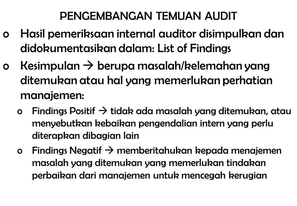 PENGEMBANGAN TEMUAN AUDIT oHasil pemeriksaan internal auditor disimpulkan dan didokumentasikan dalam: List of Findings oKesimpulan  berupa masalah/ke