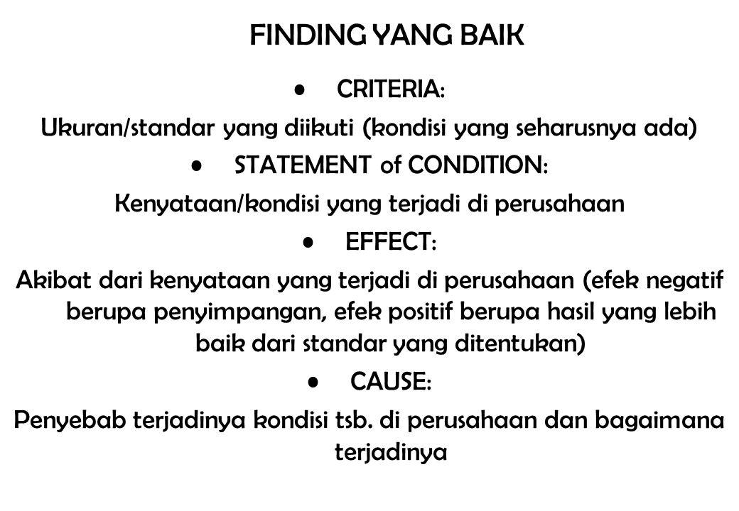 FINDING YANG BAIK CRITERIA: Ukuran/standar yang diikuti (kondisi yang seharusnya ada) STATEMENT of CONDITION: Kenyataan/kondisi yang terjadi di perusa