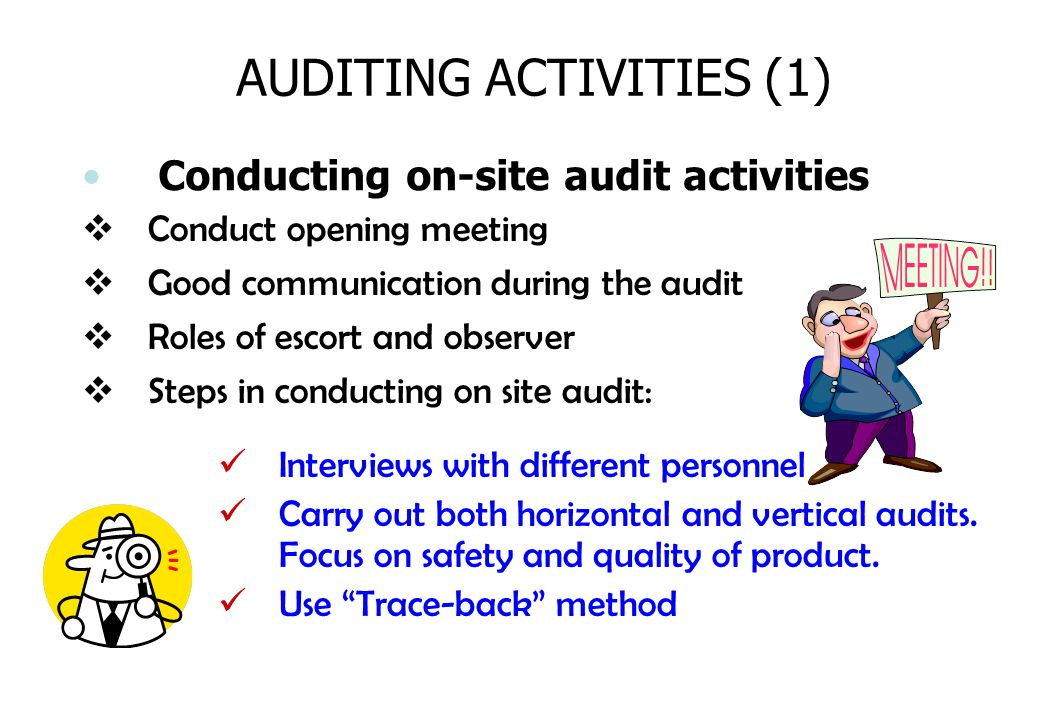 AUDITING ACTIVITIES (1) Conducting on-site audit activities Interviews with different personnel Carry out both horizontal and vertical audits. Focus o