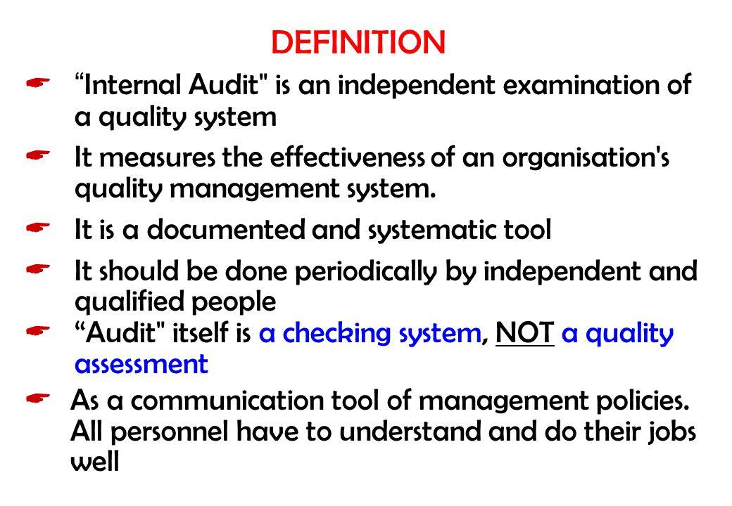 "DEFINITION  ""Internal Audit"