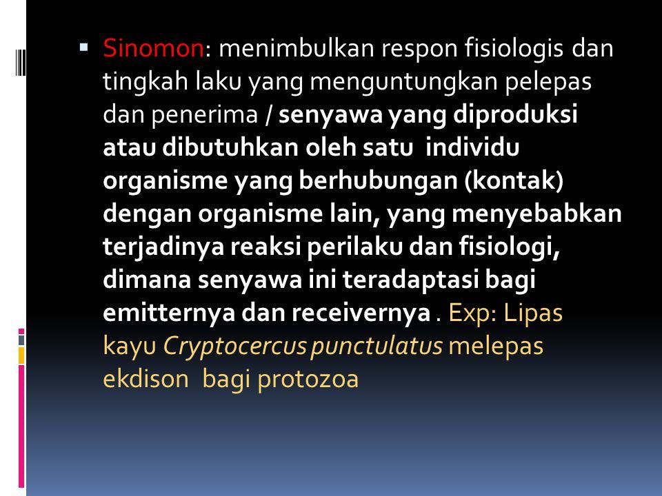  Sinomon: menimbulkan respon fisiologis dan tingkah laku yang menguntungkan pelepas dan penerima / senyawa yang diproduksi atau dibutuhkan oleh satu