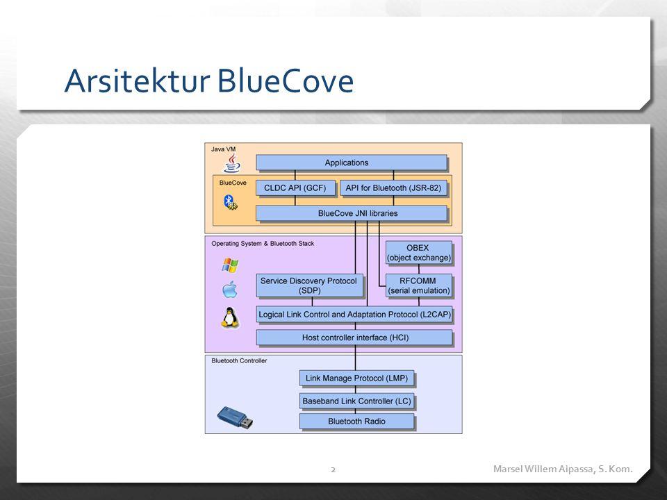 Supported Stack  Stack-stack yang didukung oleh BlueCove dapat dilihat pada website berikut http://code.google.com/p/bluecove/wiki/stacks Marsel Willem Aipassa, S.
