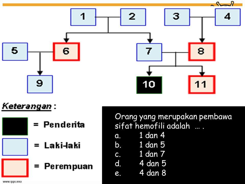Orang yang merupakan pembawa sifat hemofili adalah …. a. 1 dan 4 b. 1 dan 5 c. 1 dan 7 d. 4 dan 5 e. 4 dan 8