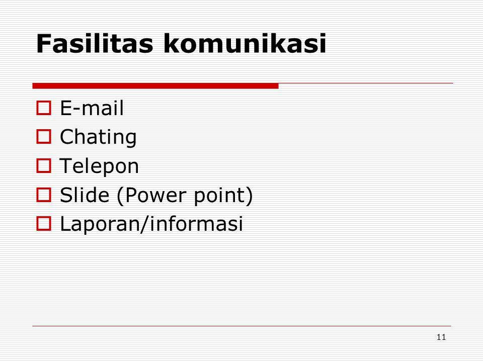 Fasilitas komunikasi  E-mail  Chating  Telepon  Slide (Power point)  Laporan/informasi 11