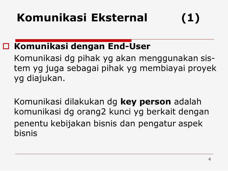 Komunikasi Eksternal (1)  Komunikasi dengan End-User Komunikasi dg pihak yg akan menggunakan sis- tem yg juga sebagai pihak yg membiayai proyek yg di
