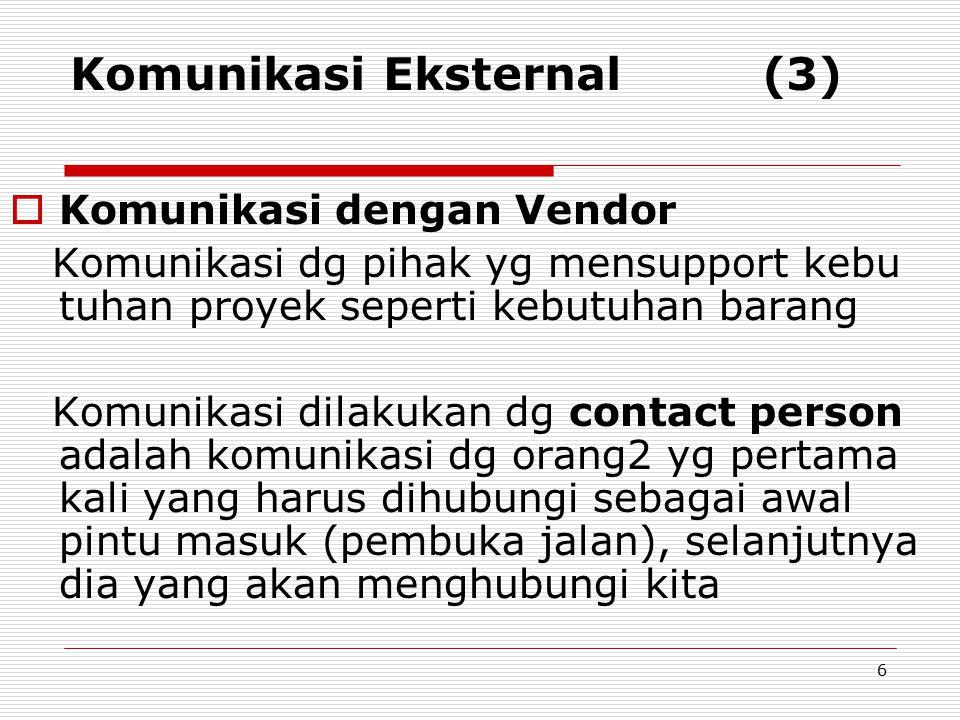 Komunikasi Eksternal (3)  Komunikasi dengan Vendor Komunikasi dg pihak yg mensupport kebu tuhan proyek seperti kebutuhan barang Komunikasi dilakukan