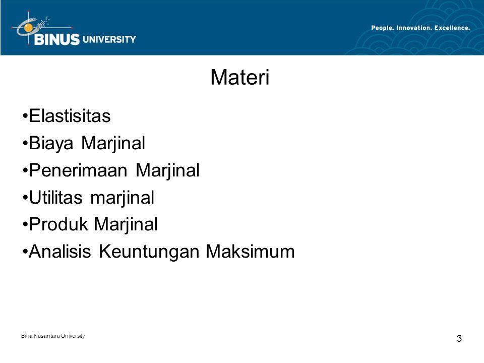Bina Nusantara University 3 Elastisitas Biaya Marjinal Penerimaan Marjinal Utilitas marjinal Produk Marjinal Analisis Keuntungan Maksimum Materi