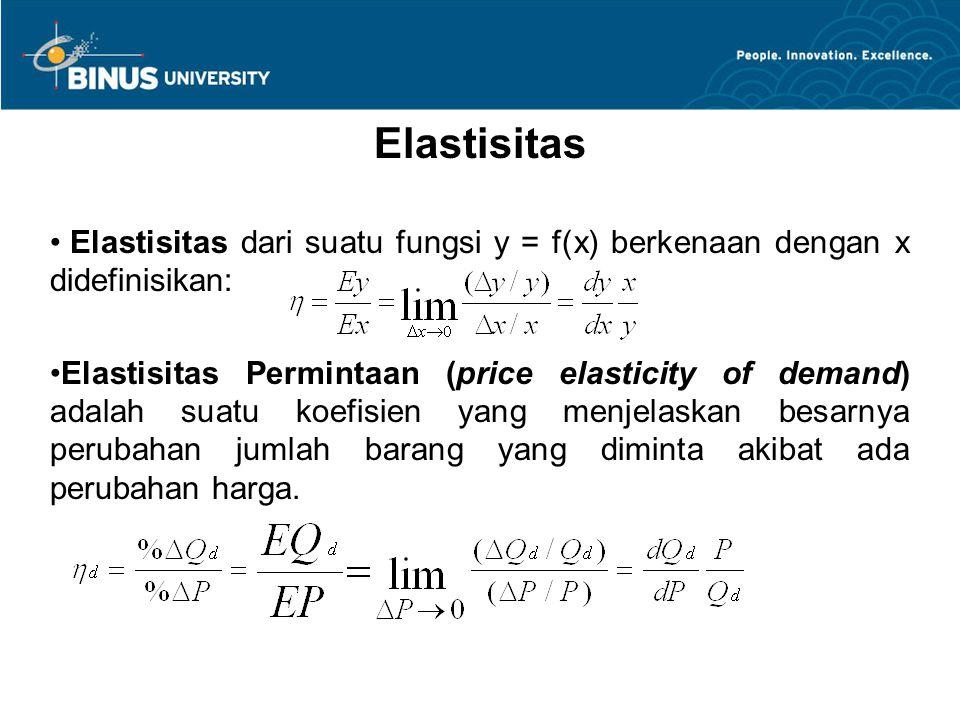 Elastisitas Elastisitas dari suatu fungsi y = f(x) berkenaan dengan x didefinisikan: Elastisitas Permintaan (price elasticity of demand) adalah suatu